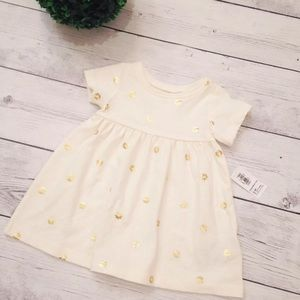 Cream Dress With Gold Flowers - Size 12-18 M